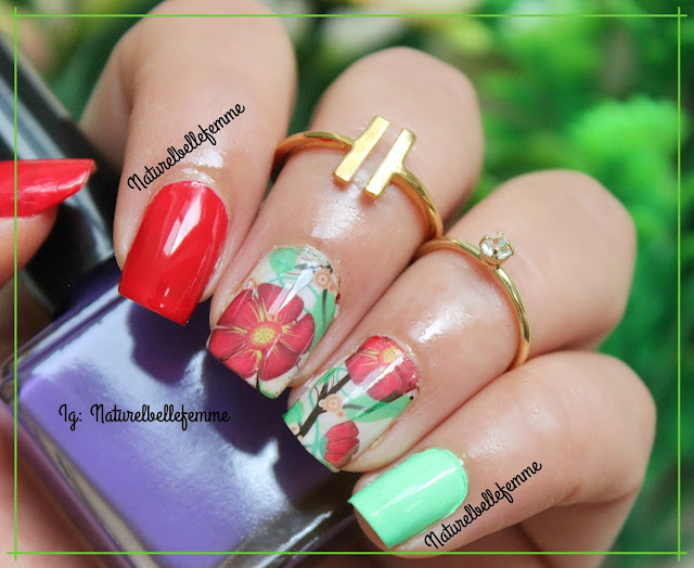 red floral nail decals