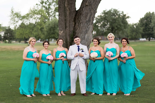 bridesmaids with groom at Fern Hill Golf Course
