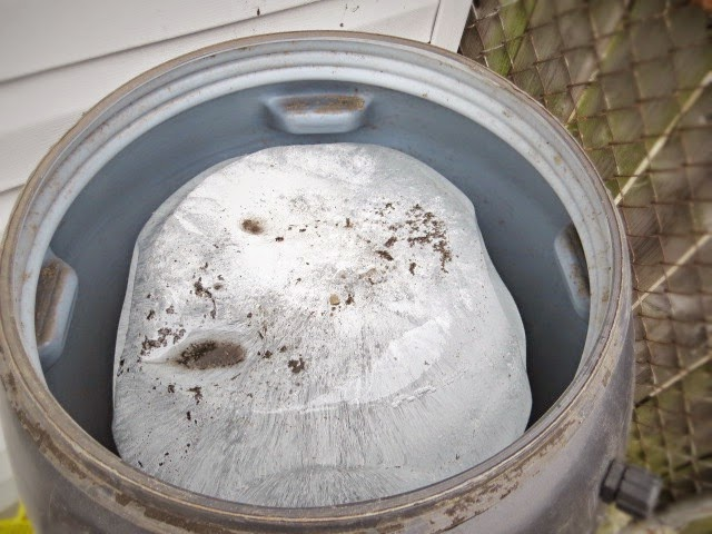 empty rain barrel ice