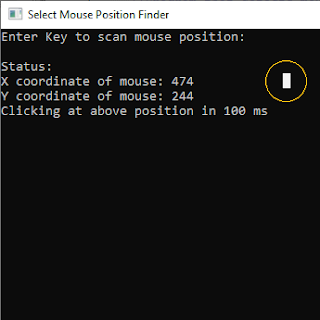 Finding X and Y of Mouse in Cpp Program Output