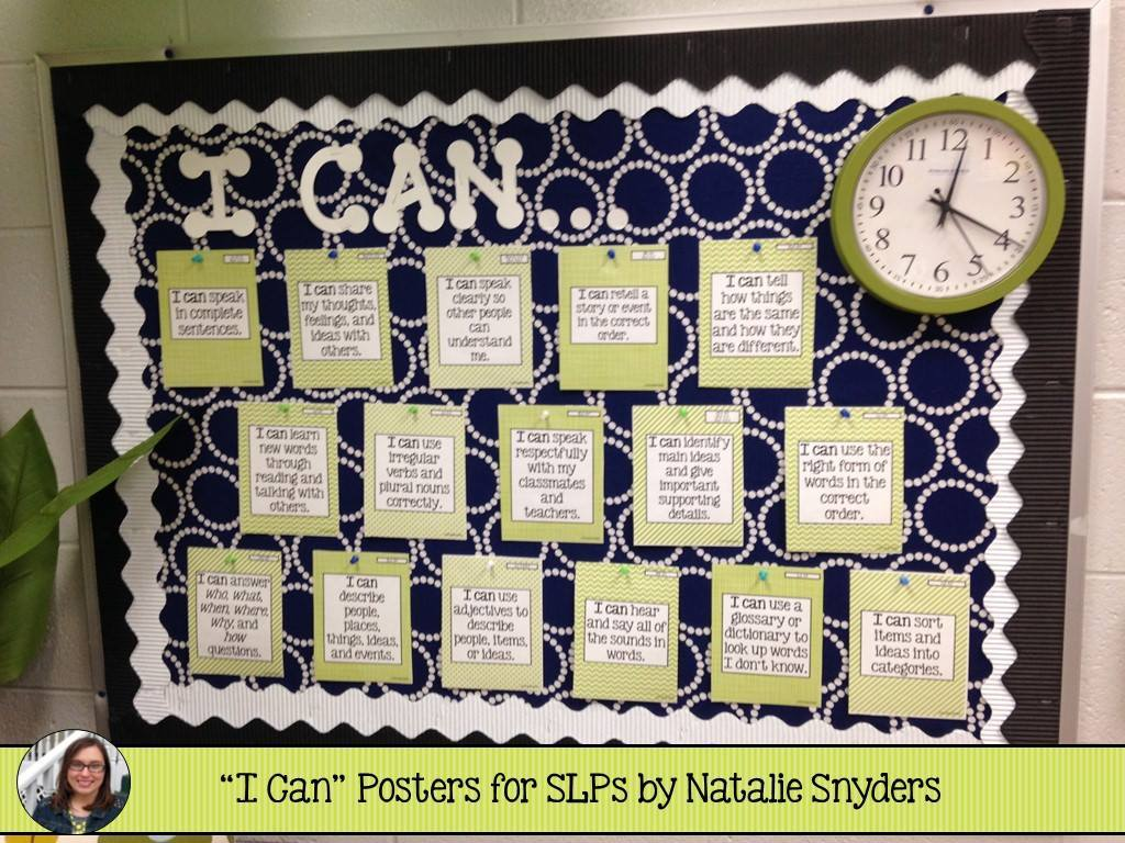 Ccss i can posters for slps natalie snyders slp for I can bulletin board ideas