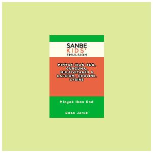 Sanbe Kids Emulsion : Minyak Ikan Kod, Curcuma, Multivitamin & Calcium, Choline, Lysine