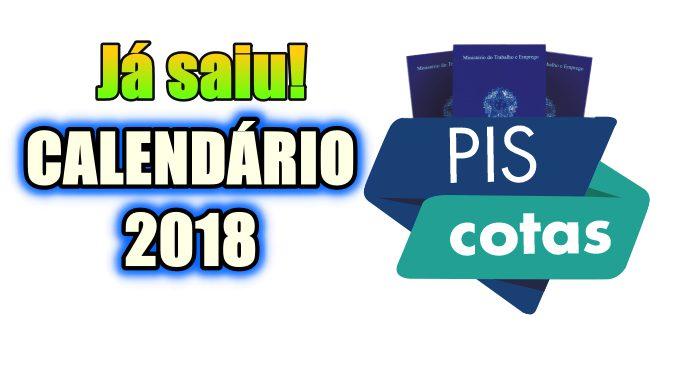 Calendário de Cotas PIS-PASEP 2018