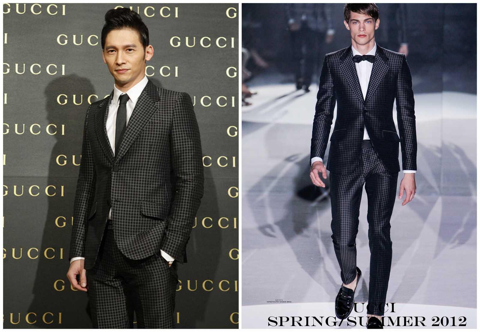 138c7d8fb Con motivo de la apertura de una nueva tienda en Taipei de la firma  italiana Gucci, el actor James Wen acudió vestido en un traje color negro  con estampado ...