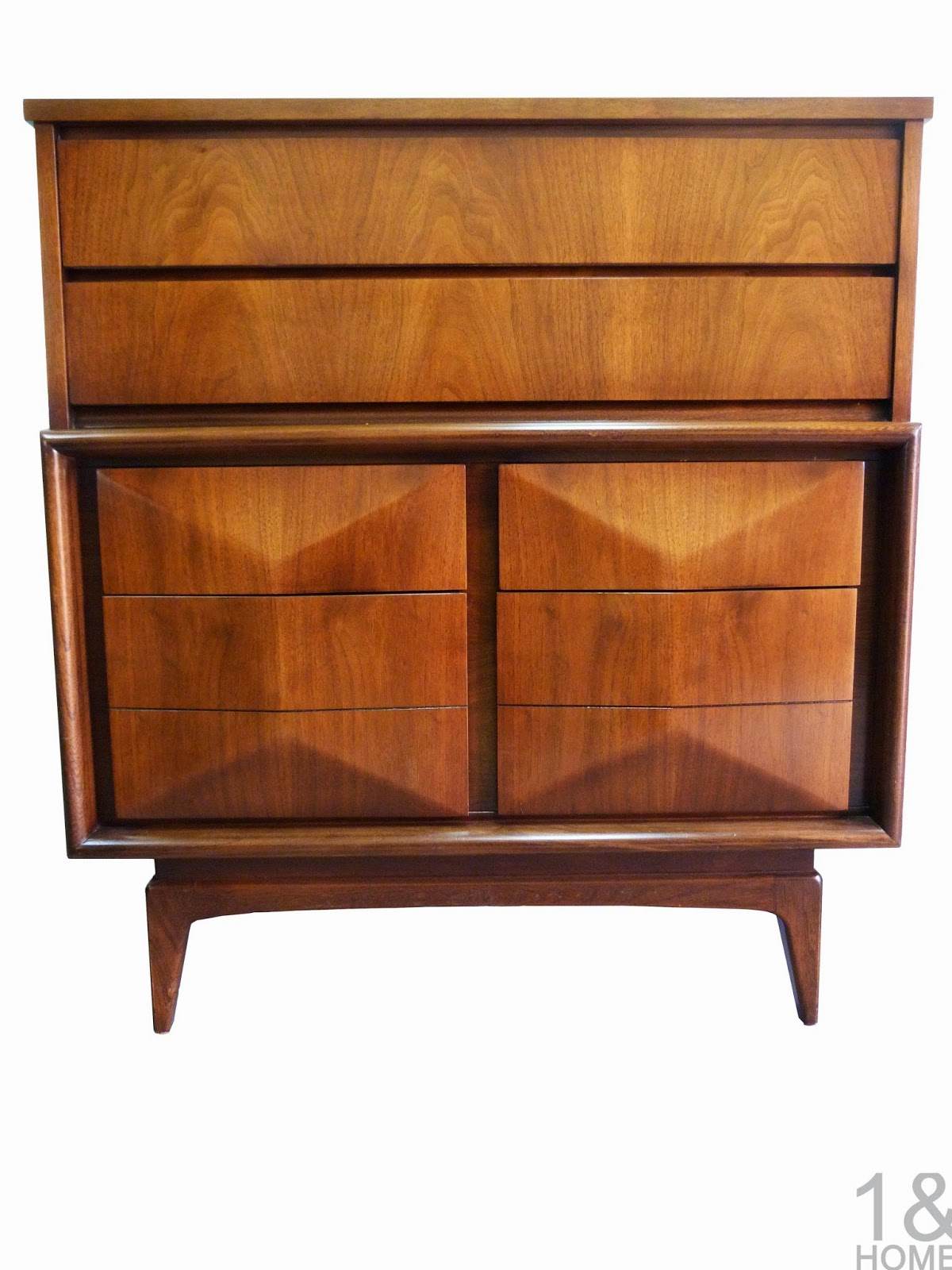Diamond Front Mid-Century Dresser Chest by United Furniture