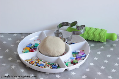 set up for gingerbread play dough invitation to create