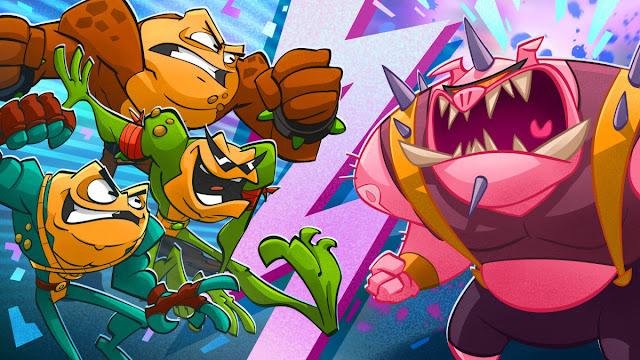 An animated cartoonish Battletoads