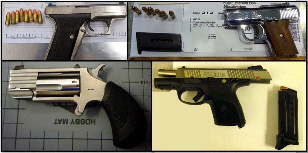 Clockwise from top left corner, firearms discovered at:SNA, TPA, PWM, PGD