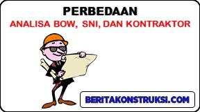 Perbedaan Analisa BOW, SNI, dan Kontraktor
