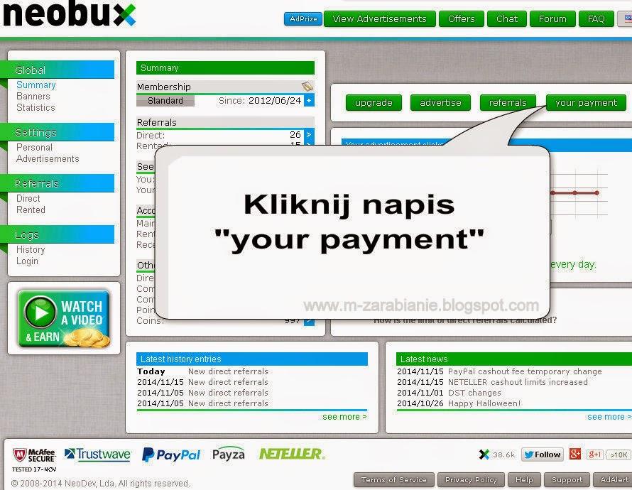 Jak wypłacić pieniądze ze strony Neobux? - instrukcja, jak zlecić wypłatę w Neobux.com, wyplata