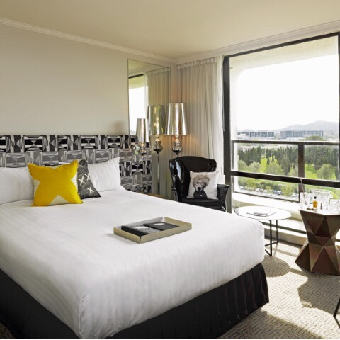 One of the beautiful rooms at the QT Hotel Canberra