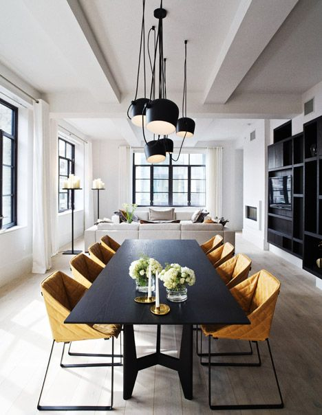 Modern luxury dining room table living room minimal sophisticated interior design by Piet Boon