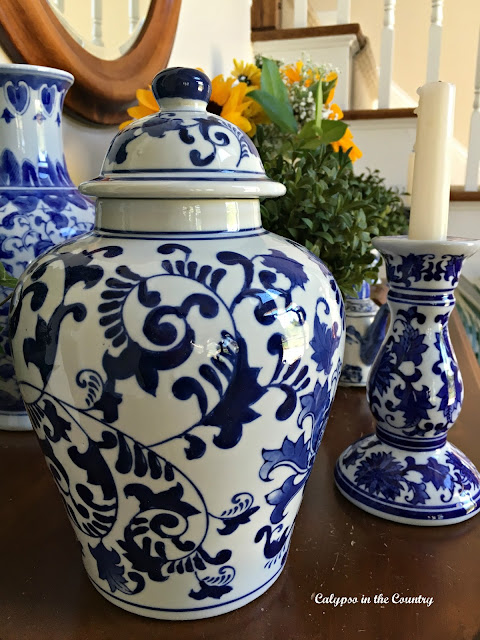 Blue and White Ginger Jar with other porcelain on my foyer table