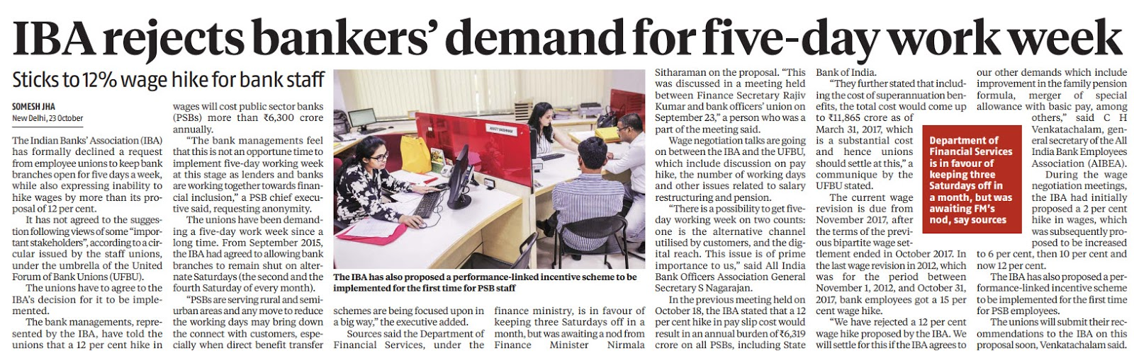 IBA Rejects Bankers demand for 5 day work week | News dated 24.10.2019