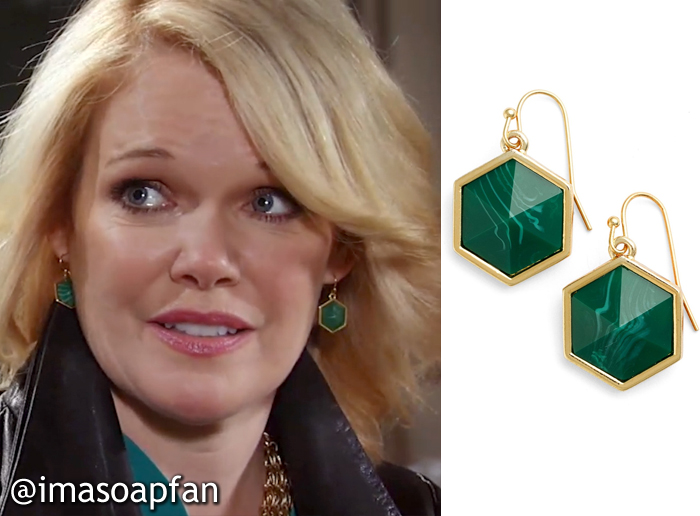 Ava Jerome, Maura West, Green Hexagon Drop Earrings, Trina Turk, GH, General Hospital