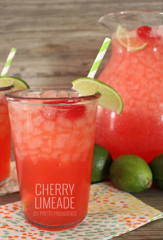 Literally the best cherry limeade ever, and it couldn't be any easier to throw together! Perfect for get togethers or hot summer days!