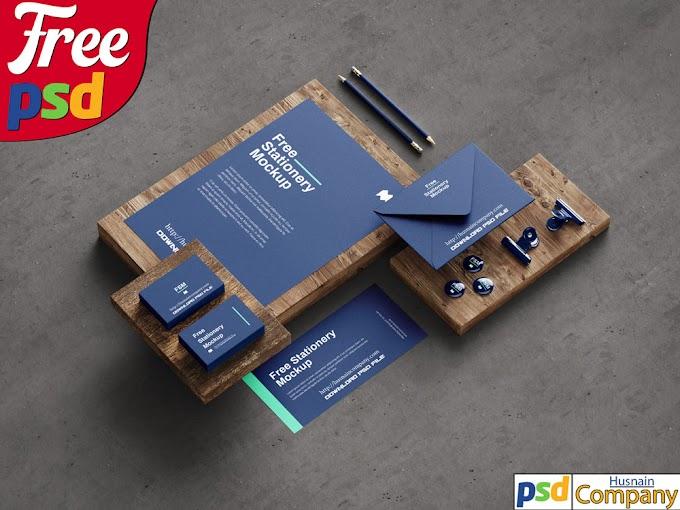 Download Free Stationery PSD Mockup #3
