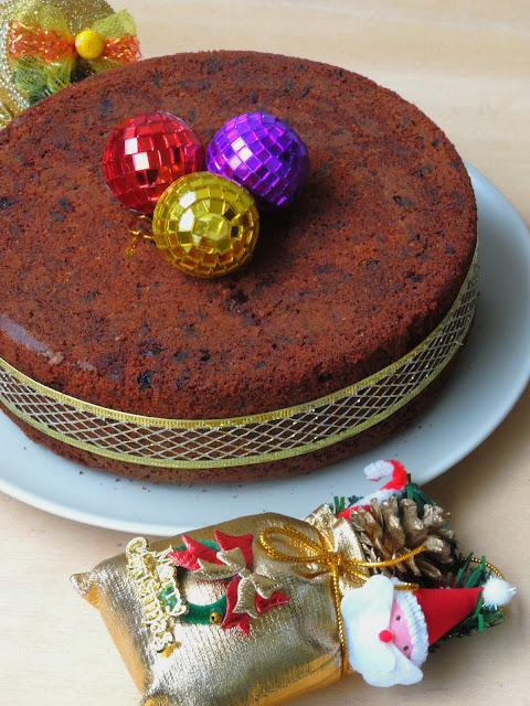 Spelt flour Fruit Christmas Cake, No Butter XMas Fruit Cake