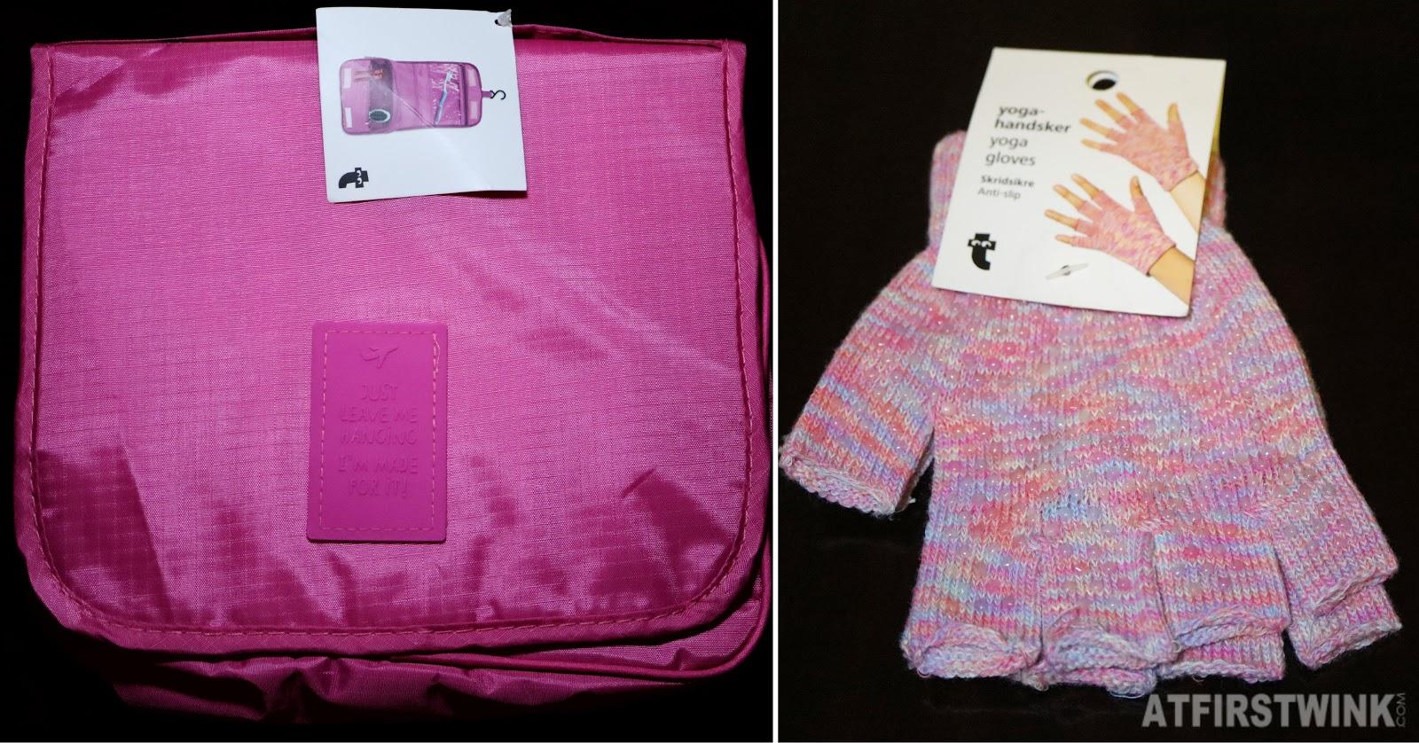 Flying tiger toiletry bag hanging travel anti-slip yoga gloves pink
