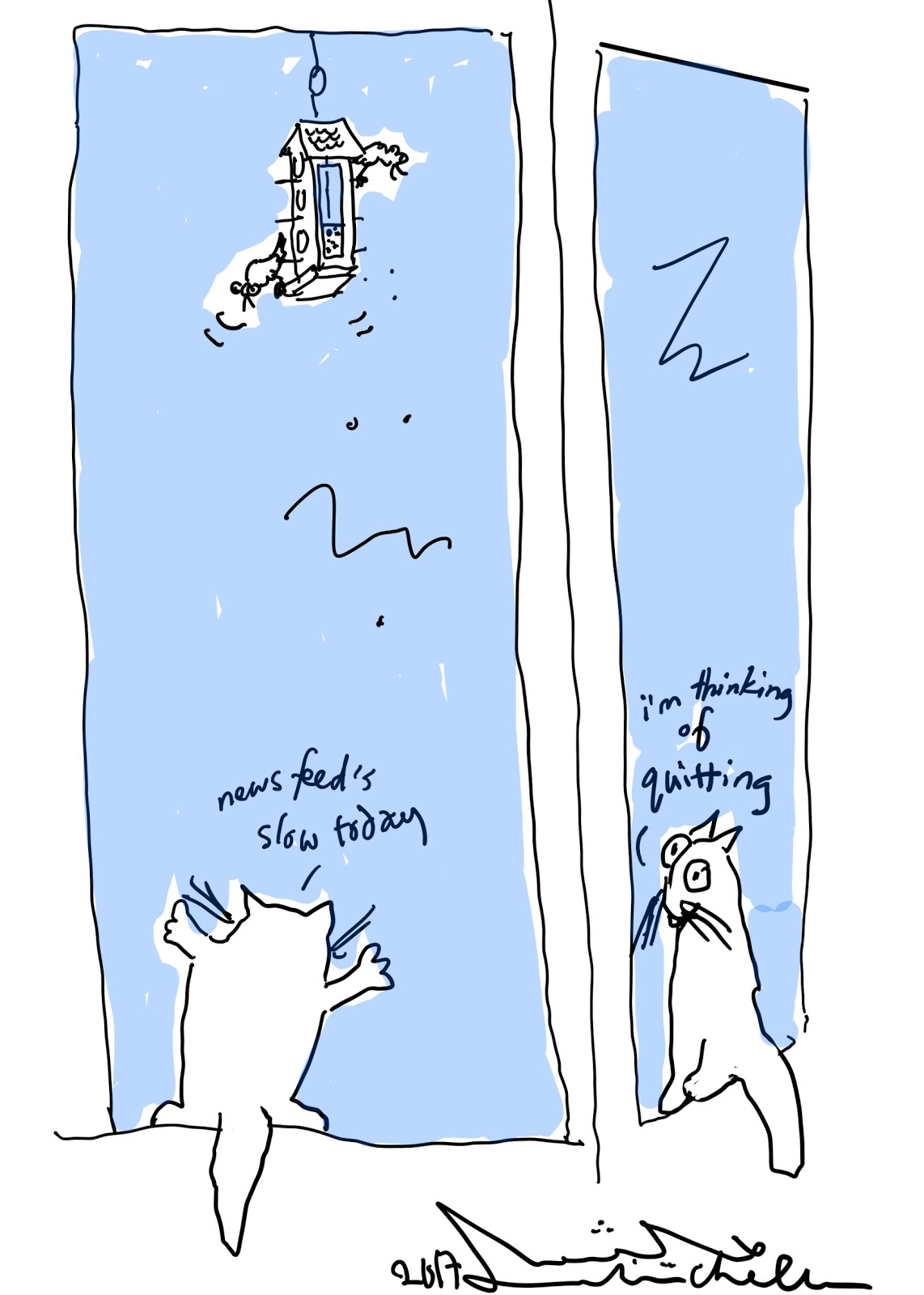 Open access for cats still a problem cartoon with cats and bird feeder