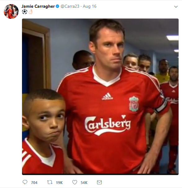 Jamie Carragher tweets a picture of himself with what he believed was a young Trent Alexander-Arnold