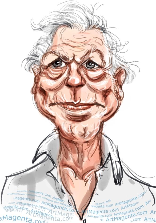 David Attenborough caricature cartoon. Portrait drawing by caricaturist Artmagenta
