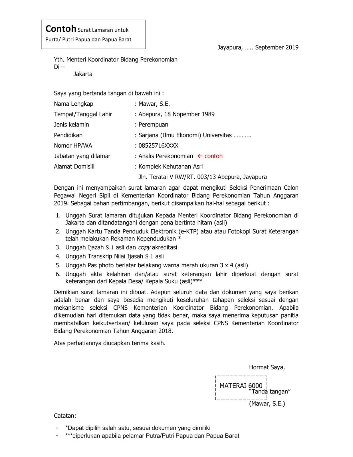 Contoh Format Surat Lamaran CPNS Kementerian Koordinator Bidang Perekonomian Tahun Anggaran 2019