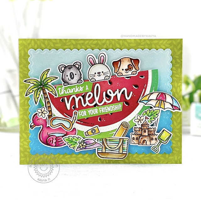 Sunny Studio Stamps: Words Of Gratitude Beach Buddies Stitched Circle Dies Loopy Letter Dies Card by Kavya