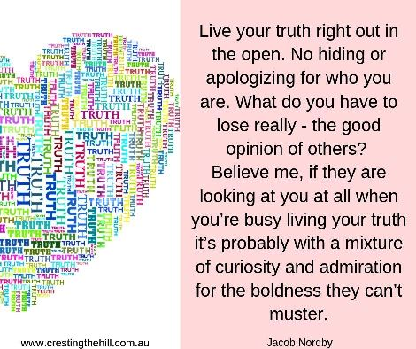 Live your truth right out in the open - no apologizing for who you are - Jacob Nordby #inspirationalquotes