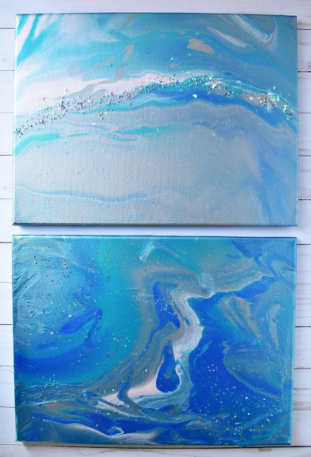 canvas art by Wendy Sue Anderson using the color pour system by American Crafts