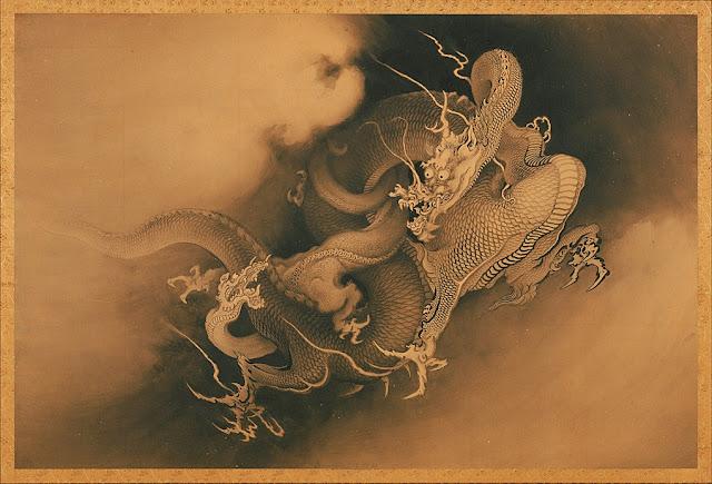 Δράκοι στα σύννεφα, κινέζικος πίνακας του Kanō Hōgai, 19ος αιώνας