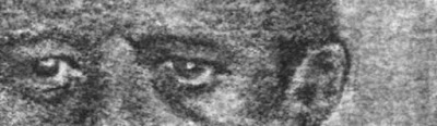 """""""Eyes of John F. Kennedy II"""" Charcoal on Paper, c. 2007 1 x 3 inches"""