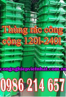 thung rac cong cong 240 lit mau xanh