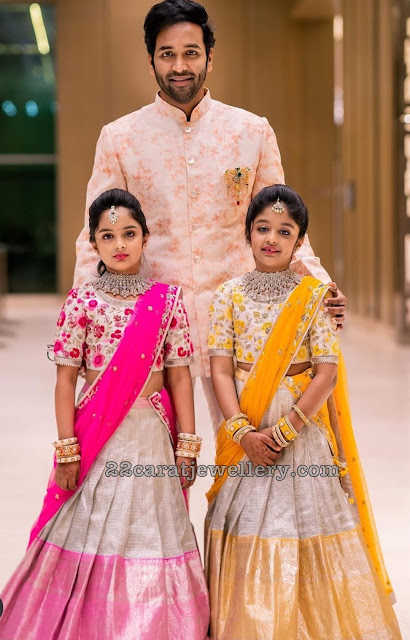 Viranica and Vishnu Daughters in Silver Half Sarees