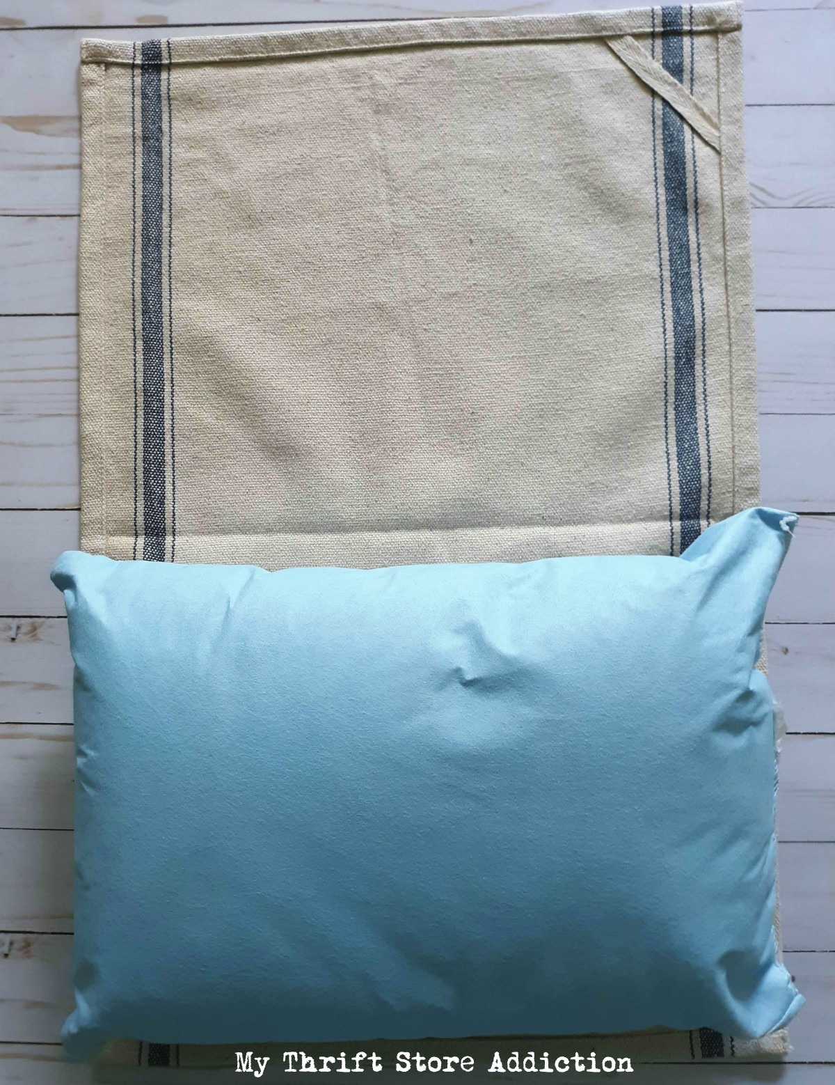 repurposed tea towel pillow