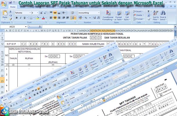 Contoh Laporan Spt Pajak Tahunan Untuk Sekolah Dengan Microsoft Excel Media File Pendidikan