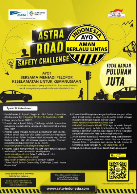 [Gratis] Lomba ASTRA Road Safety Challenge & ASTRA Video Competition 2018