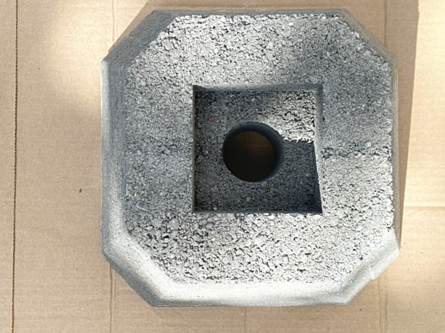 cement pole holder with a hole