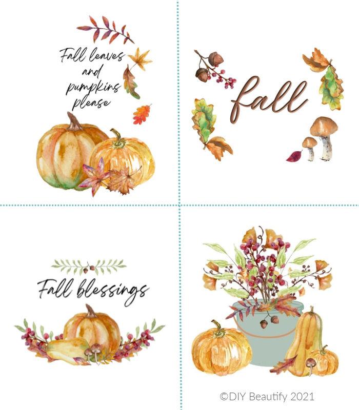 set of watercolor Fall printables