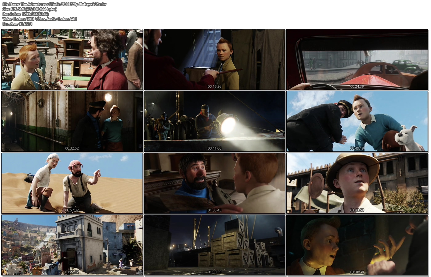The Adventures of Tintin 2011 720p BluRay 700MB x264 Movie Screenshots