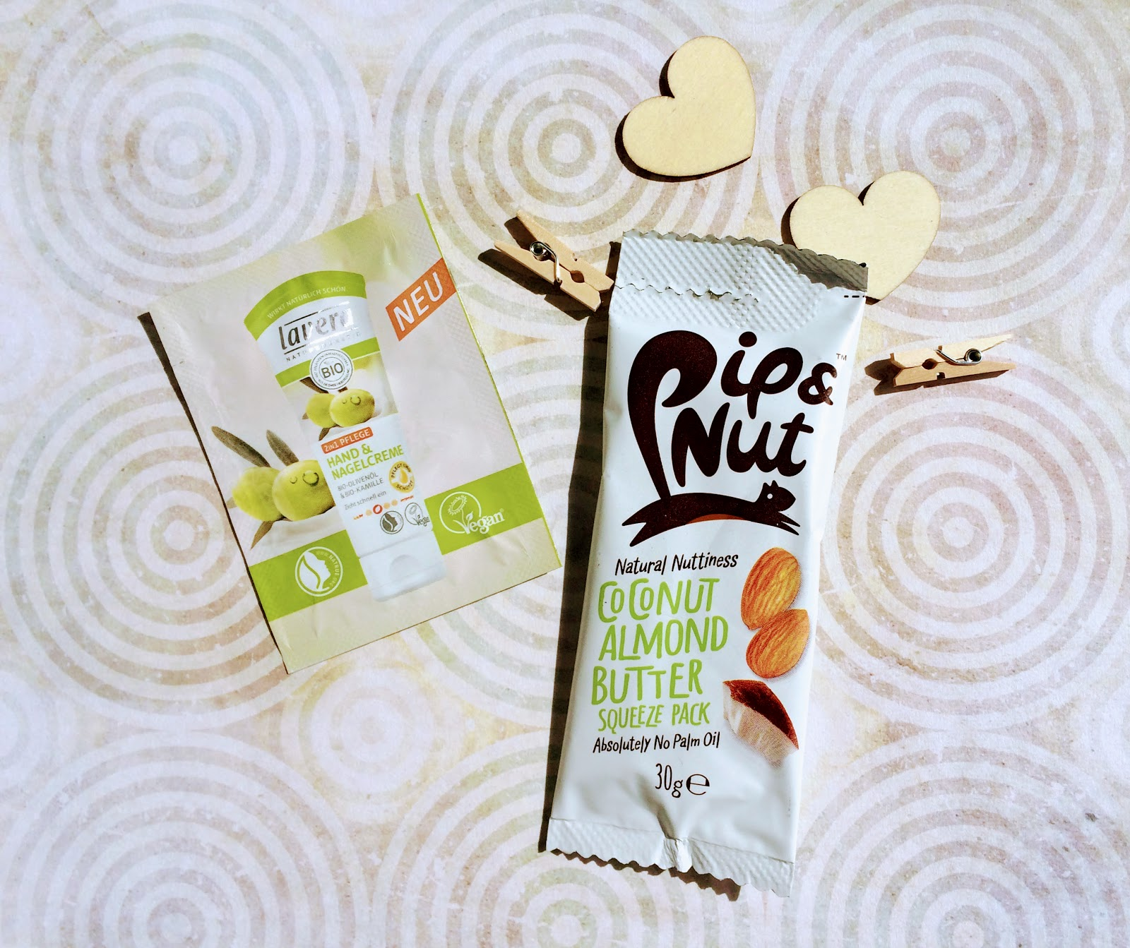 Pip and nut almond butter and lavera hand cream sample