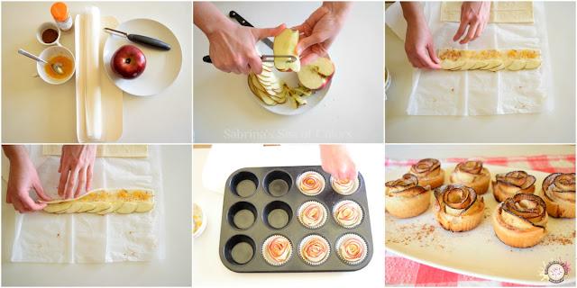 Preparar Rosas de manzana y hojaldre receta