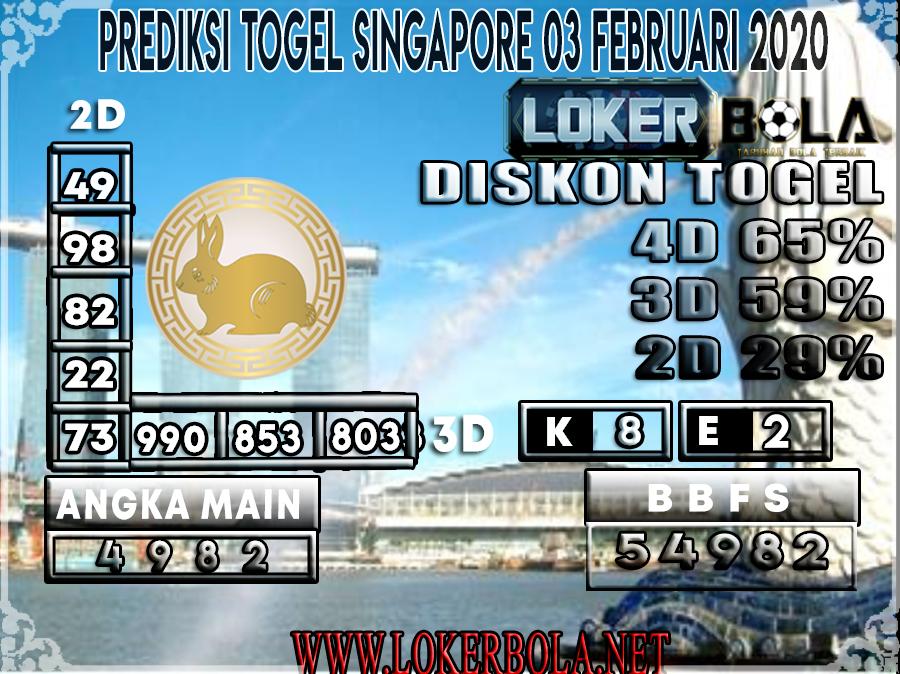 PREDIKSI TOGEL SINGAPORE LOKERBOLA 03 FEBRUARI 2020