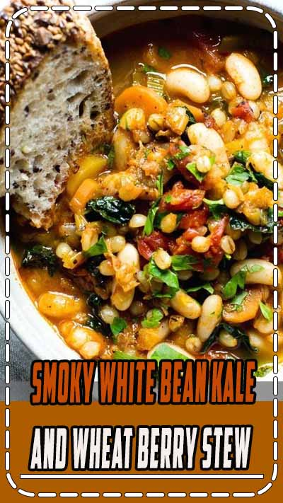 Packed with earthy flavors, texture rich Smoky White Bean Kale and Wheat Berry Stew is quick to pull together with a long, slow simmer. Serve with the crustiest, seediest sourdough for a super cozy meal. #VeganStew #VeganFood #Veganrecipes #VegetarianRecipes