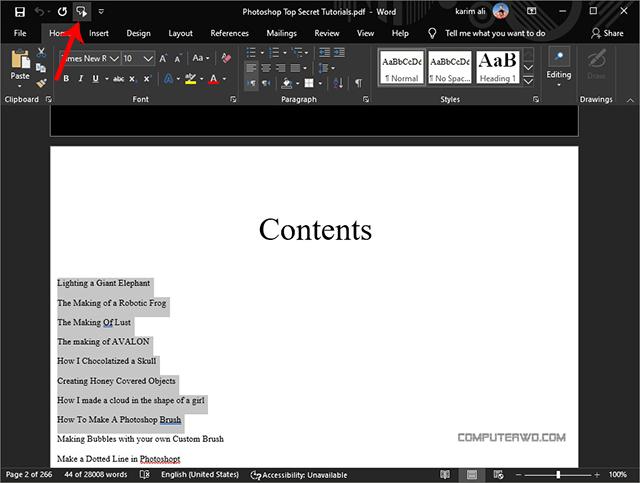 PDF read aloud click speak option in word reader - قراءة بالصوت.jpg