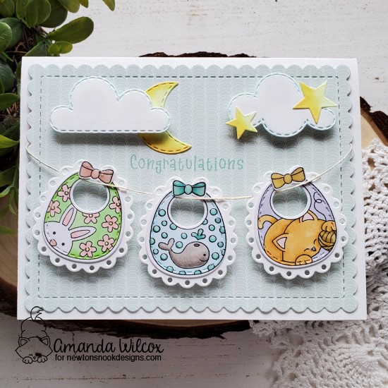 Baby Bibs Clothesline Card by Amanda Wilcox | Bitty Bibs Stamp Set, Baby Bib Die Set and Sky Scene Builder Die Set by Newton's Nook Designs #newtonsnook #handmade