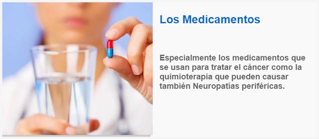 Especialmente los medicamentos que se usan para tratar el cáncer como la quimioterapia que pueden causar también Neuropatías periféricas