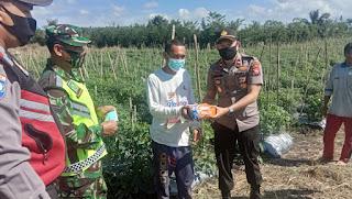 Pembagian  nasi kotak untuk warga Kecamatan Sindang Dataran yang terdampak Covid-19