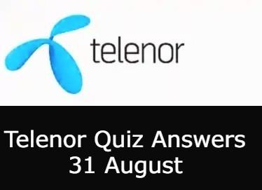 31 August Telenor Quiz Today
