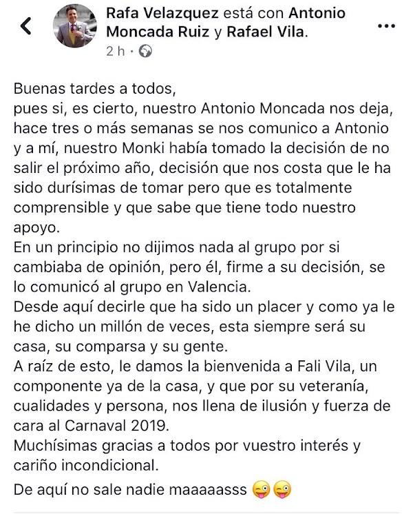 Antonio Moncada no saldrá con Martínez Ares e el 2019
